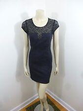 Silence+Noise Anthropologie Black/Dark Gray Cap Sleeve Lace Woman Dress Size S