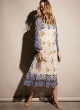 NEW Free People Special Edition blue tan Chiffon Beaded Low Back Midi Dress S