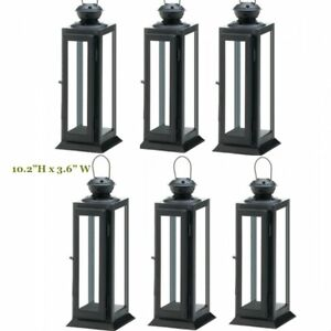 Lot 6 Star Cutout 10in Small Black Lantern Candle Holder Wedding centerpieces