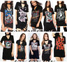 LADIES LIVE FAST-ROCK-ANGEL-EAGLE-SKULL PRINTED TOP CHOKER NECK T-SHIRT DRESS