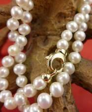 Elegante Perlen Halskette mit 585 Gelbgold