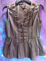 Kenneth Cole New York Brown Teal Glittery Tuxedo Striped Ladies Blouse Size 6