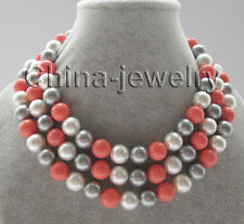 """N5027-50"""" 12mm white + gray + pink south sea shell pearl necklace- GP clasp"""
