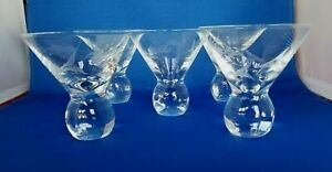 Set of 5 VTG ART DECO Stemless Weighted Etched Glass Martini Cocktail Glasses