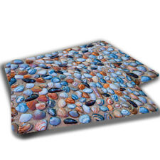 TWO RUGS Colorful Seashells On Sand Beach Ocean Design Bathroom Kitchen Mat