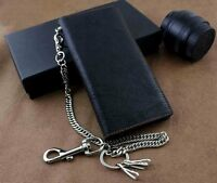 Real Leather Mens Biker Card/Money Long Wallet Purse W/ Jeans Key Chain