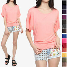 TheMogan Colored Jersey BOAT NECK DOLMAN TOP Drape Short Sleeve T-Shirts S-3X