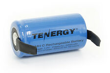 Tenergy C 1.2V 5000mAh High Capacity NiMH Rechargeable Battery Flat Top w/ Tabs