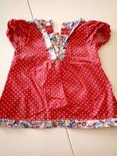 Preciosa blusa roja ribetada Mothercare 98 cms 2 a 3 años