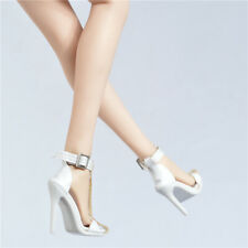 Custom white High-heel strap sandals shoes For 1/6 Scale Female TBLeague Doll
