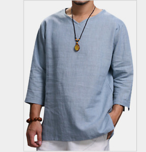Mens Long Sleeve Cotton Linen Yoga Shirts Crew Neck Beach Yoga Tops Blouse Tees