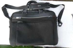 Tumi Arrive Sawyer Brief Black Fabric Laptop Briefcase Leather Trim 255002D2