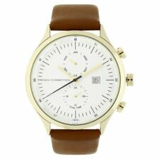 French Connection Mens Wrist Watch White Face Brown Leather Strap FC1266TGU