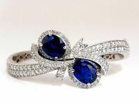 12ct Oval Cut Blue Sapphire & Diamonds 14k White Gold Over Bangle Bracelet