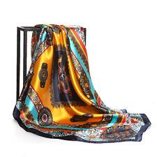 "Women's Chinese Dragon Print Square Scarves Silk-Satin Head Shawl Hijab 35""*35"""