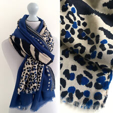 Large Leopard Print Scarf Blue Cream Animal Big Long Cotton Shawl Wrap Pashmina