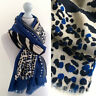 Grande Estampado Leopardo Bufanda Azul Crema Animal Algodón Largo Chal Pashmina