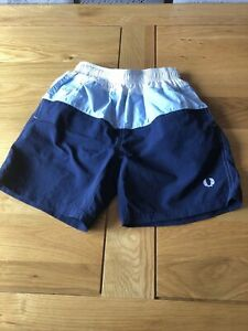 Boys Fred Perry Blue Swim Shorts Size Youth M