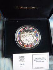 Gibraltar 2004 £ 10 lb (environ 4.54 kg) COIN D-Day Anniversaire 5 oz (environ 141.75 g) .925 Silver Proof Coffret COA