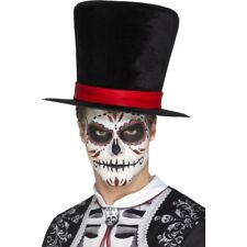 Black Day Of The Dead Skeleton Top Hat Red Band Fancy Dress Accessory