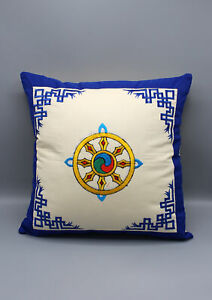 Hand Embroidered Wheel of Life Cotton Cushion Cover