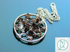 Handmade Smoky Quartz Tree of Life Natural Gemstone Pendant Necklace 50cm