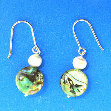 Abalone Shell Coin Pearl Drop Earrings Sterling Silver .5x1.25""