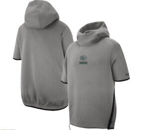 Green Bay Packers Nike On Field Short Sleeve Sweatshirt Hoodie S L 2XL MSRP $150