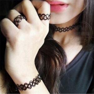 Tattoo Choker Stretch Necklace Bracelet Ring Anklet Retro Henna Elastic Boho 90s
