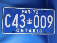 ONTARIO LICENSE PLATE 1972 MARCH C43 009 VINTAGE CROWN CANADA CAR SHOP SIGN