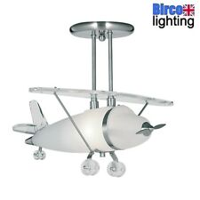 Searchlight 737 Novelty Satin Chrome Frosted Glass Airplane Kids Ceiling Light