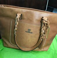 WEIMEIBAIGE LARGE BROWN VEGAN LEATHER PURSE TOTE BAG with BRAIDED HANDLES