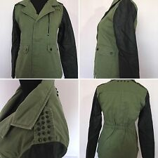 BKE Buckle Women's Green Canvas  Faux Leather Jacket Coat Large NWT MSRP $64.95