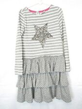Mini Boden Girls Long Sleeve Gray Striped Ruffle Star Sequin Dress Size 6-7