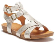 Kork-Ease Womens Doughty Double Ankle Strap Gladiator Sandal Leather Gold Size 7