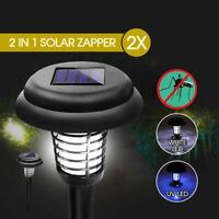 2x Solar UV Bug Zapper Mosquito Fly Insect Repeller Killer Garden Path LED Light