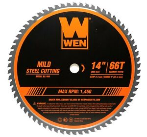 """WEN BL1466 14"""" 66-Tooth Carbide-Tipped Metal Saw Blade for Mild Steel Cutting"""