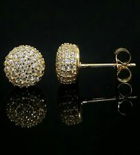 Women 14k Yellow Gold over Sterling Silver Round Ball Cz Post Stud Earrings