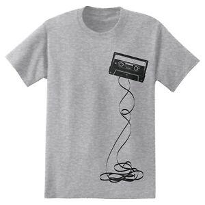 Mens Maxell Cassette Retro Short Sleeve T-Shirt Charcoal Heather Grey New