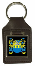 Mcbreaty Family Crest Surname Coat Of Arms Brown Leather Keyring Engraved