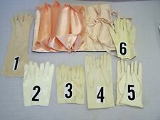 Six Pair Vintage Gloves Some Made in Italy Some Silk Lined w/ Silk Glove Holder