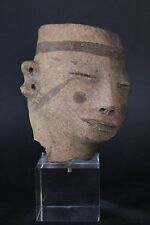 PRE-COLUMBIAN PRECLASSIC FACE FRAGMENT ON STAND CA. 1000 B.C. - 200 B.C.