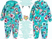 🌸 Next Fleece Hood Hummingbird Body Pram Suit Mittens Gloves Turquoise Blue Vtg