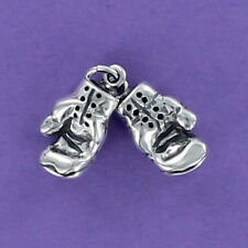 Boxing Gloves Charm Sterling Silver for Bracelet Movable Gym Workout Box Pair