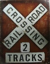 Vintage Tin Metal Sign railroad crossing 2 tracks new train union Pacific 2174