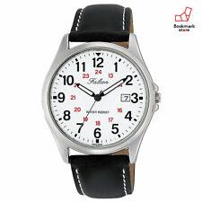 New CITIZEN Q&Q Watches Falcon Analog White Black Leather Belt D026-304 Men's