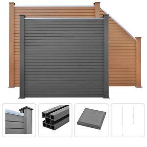 vidaXL WPC Fence Set Square/ Square and Slant Post Panel Divider Brown/Grey