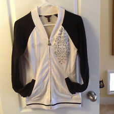 SUPER SEXY Dereon Womens zip up Sweat jacket shirt Stone Studded Bling sz  S/P