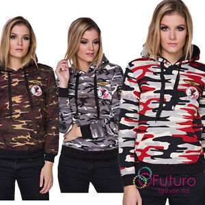 Ladies Military Army Camouflage Hoodie Long Sleeve Hoody Sweatshirt FZ118
