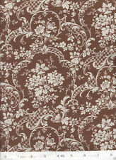 Sigourney Filigree Floral Brown & White - Quilt Fabric - Free Shipping - 1 Yard